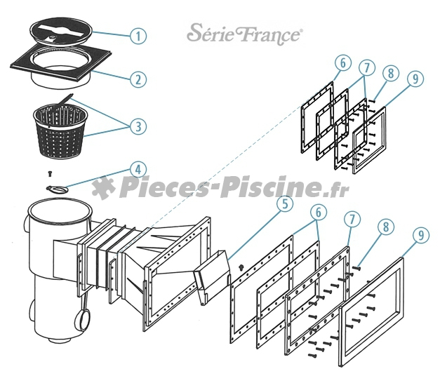Volet skimmer serie france pieces piscine for Pieces pour skimmer piscine