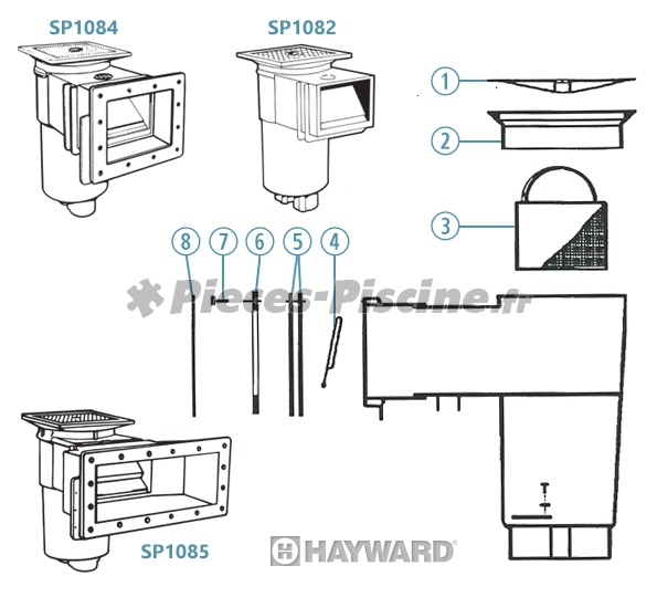 Pi ces skimmer hayward sp1082 sp1084 sp1085 pieces for Pieces pour skimmer piscine