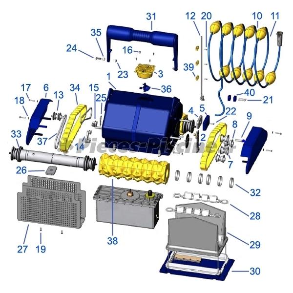 Chenilles zodiac sweepy m3 lot de 2 pieces piscine for Piece robot piscine