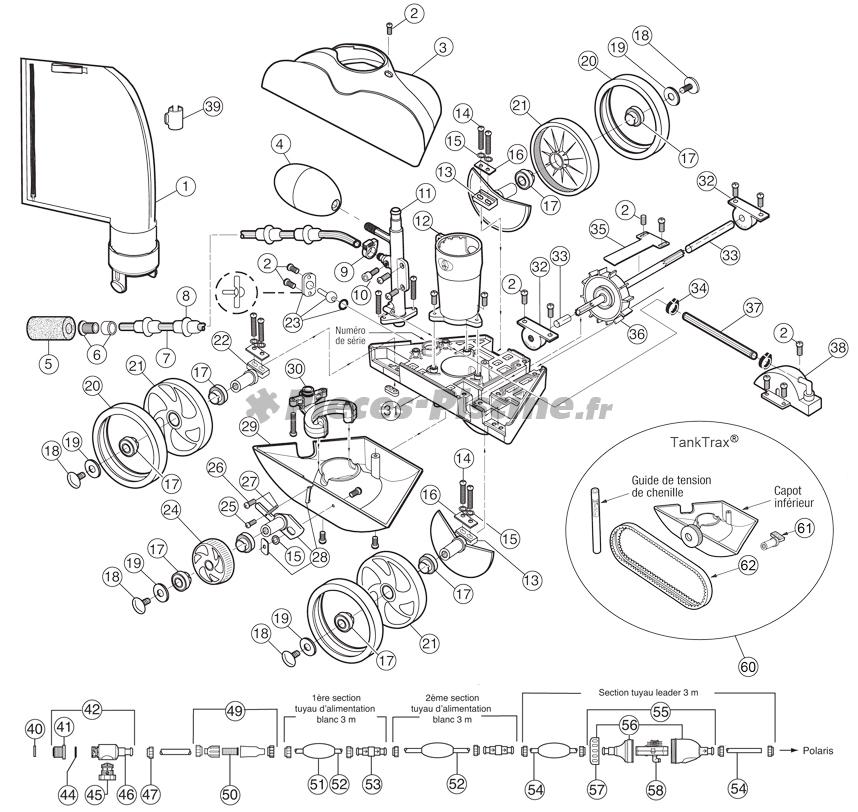 Chenille tank tracks pour polaris 280 pieces piscine for Accessoire robot piscine polaris 280