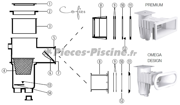 Volet skimmer cofies ancien mod le pieces piscine for Pieces pour skimmer piscine