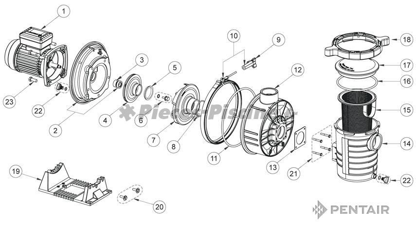 socle moteur pentair ultraflow de 3cv pieces piscine. Black Bedroom Furniture Sets. Home Design Ideas