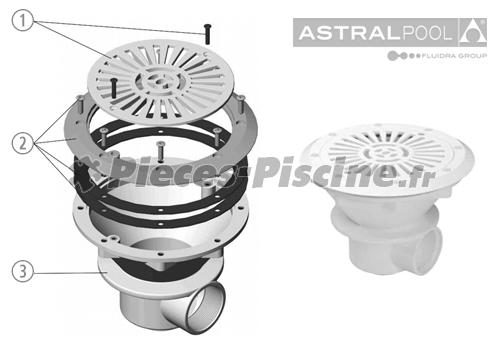 Pièces détachées bonde de fond  ASTRAL Liner 210 mm