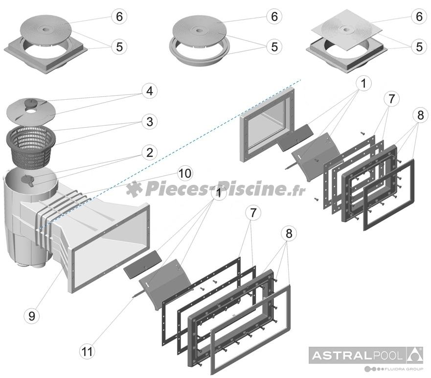 Pièces détachées pour skimmer ASTRAL Standard