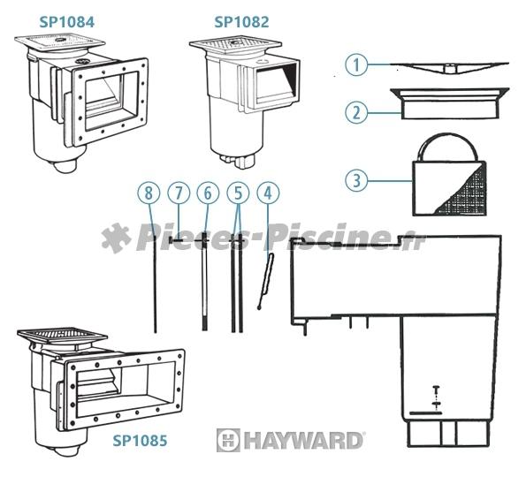 Pièces détachées pour skimmer HAYWARD SP1082 / SP1084 / SP1085