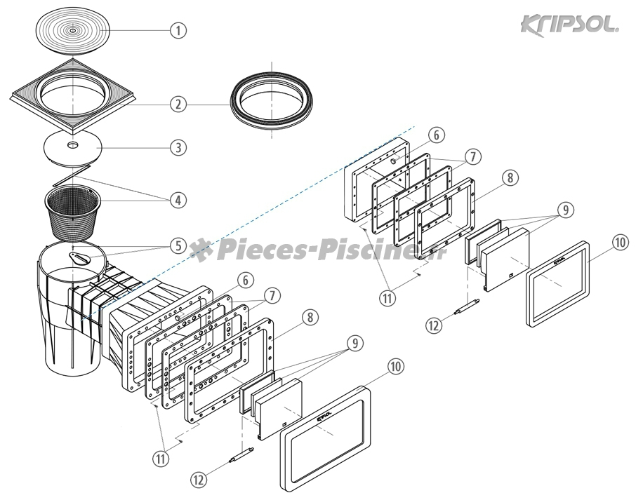 Pi ces skimmer kripsol pieces piscine fr for Pieces pour skimmer piscine
