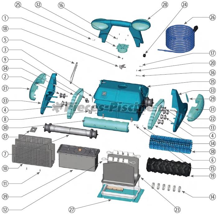 pi ces robot zodiac indigo pieces piscine fr. Black Bedroom Furniture Sets. Home Design Ideas