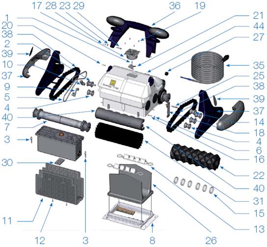 Pièces détachées robot ZODIAC Sweepy Free